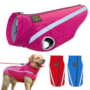 Dog Clothes Winter Reflective Waterproof Warm Padded Large Dogs Jacket Coat Pink