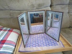 Vintage Decorated Tri Fold Dresser/Vanity Top Mirror 1940's Style