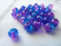 10x Crackle Glass Beads 8mm Cracked Marbles Drilled Colored Hot Pink & Deep Blue