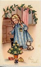 Bambina Bambola Buon Natale Lovely Girl w Doll Cat Dog Tree Xmas PC Circa 1930