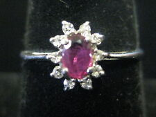 VINTAGE 10K WHITE GOLD RUBY AND DIAMOND RING SIZE 7