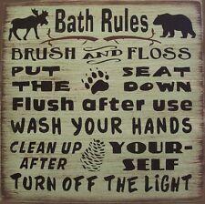 Cabin Bath Rules Country Lodge Rustic Primitive Home Decor
