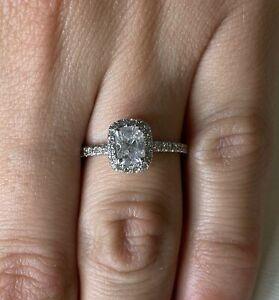 1.50 ct F/SI1 Cushion Cut Diamond Halo Engagement Ring 14K White Gold