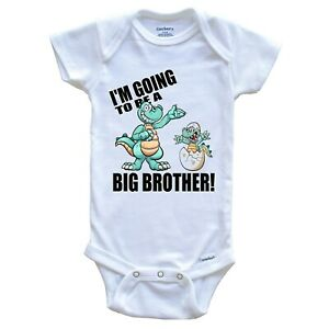 New Baby Announcement Onesie - I'm Going To Be A Big Brother Dinosaur Onesie