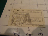 vintage paper item: MEAL CARD jan 15, 1954
