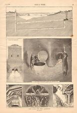 New York, The New Aquaduct, Sandhogs, Tunnell, Vintage 1890 Antique Print