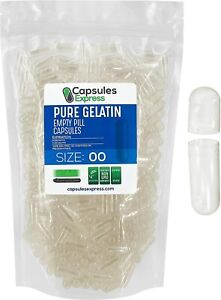Capsules Express- Size 00 Clear Empty Gelatin Capsules Gelcaps Kosher Pill DIY