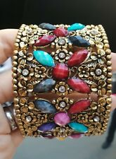 New BRONZE TONE fashionable Hand bracelet WITH FLOWERS indian style handmade