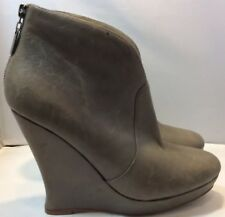 Alexandre Birman Grey Leather Dip Front Wedge Ankle Boot US8