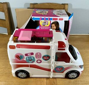 Barbie Care Clinic Lights And Sound Ambulance Vehicle Toy VAN ONLY MISSING PARTS
