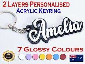 Laser Cut Personalised 2 Layers Acrylic Key Chain Keyring School Bag Name TAG