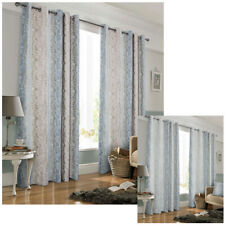 Fully Lined EYELET Anneau Top two tone pearlescent abstract self print Curtains