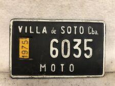 Vintage 1975 Villa De Soto Motorcycle License Plate