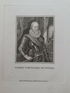 George Carew Earl of Totnes engraving William Richardson of Leicester Fields