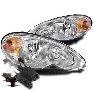 FOR 06-10 CHRYSLER PT CRUISER CRYSTAL STYLE CHROME HEADLIGHT LAMP+50W 8K HID KIT
