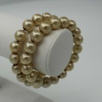 "Vintage Bracelet 2.5"" Pearl Colored Beads Wrap Strand Bangle"