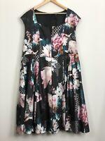 TS TAKING SHAPE Black Pink Floral Pleated Oriental Garden Dress Plus Size 24 NWT