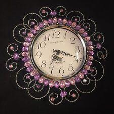 Royal Princess - Jeweled Wall Clock - Purple - Girl - Nursery Decor