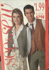 Butterick See & Sew pattern 4798 Unisex Lined Vest size XS-S (bust/chest 30-36)