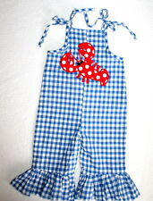 NWOT MUD PIE Precious Lobster Romper Check Longall Girl Size 0-6 Months