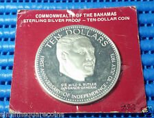 1974 Commonwealth of the Bahamas $10 Sterling Silver Proof Commemorative Coin