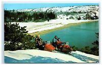 Postcard Snowmobiling in Acadia National Park, Bar Harbor, Maine A20