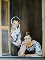 A la fenêtre , Peinture a l'huile sur toile collé de 50 X 70 de Henry Prost
