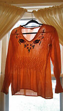 Vintage 60s 70s Sheer Cotton Gauze Embroidered Flowers Blouse Top Hippie Boho 38