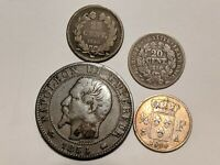 4 OLD FRANCE COIN LOT 1856 5 CENTIMES,1830 1/4 FRANC,1850 20 CENT & 1846 25 CENT