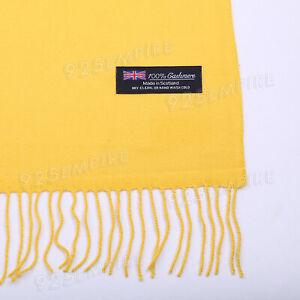 100% CASHMERE Plaid Scarves Warm Solid Plain Winter Check Scarf