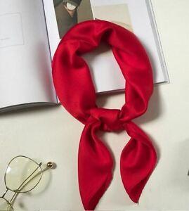 Foulard Femme Carré Uni Rouge Effet Soie - Bijoux des Lys