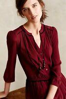 Anthropologie Maeve Dress Wine Red Tunic Drop waist Size XS Petite
