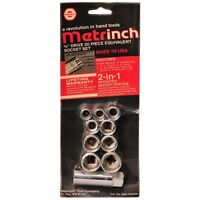 "ORIGINAL METRINCH USA 10 PC 3/8"" DRIVE 12pt SOCKET SET NEW METRIC & SAE SET"