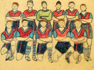 Original Vintage 1950s Amateur Sketch Drawing Aston Villa Football Club Team