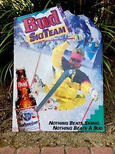 Rare Vintage 1991 Budweiser Ski Team Wall Sign 28� Tall Home Bar Ski Lodge.