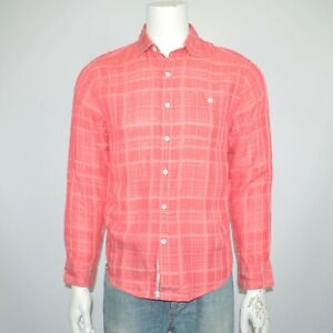 NWT TOMMY BAHAMA Sand Linen Dunes linen Tencel Red Plaid Casual Shirt Sz S