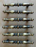 6 Vintage Amerock Brass Cabinet Door Drawer Handles Pulls Hardware