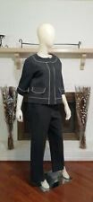 ANNE KLEIN PETITE  Black w/Beige Stitch Trim Jacket 2-Piece Pant Suit-10P