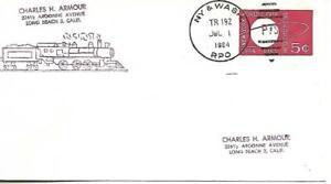 RPO Cover New York & Washington Towles# 238-G-12 Train 192 July 1 1964