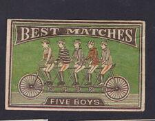 Ancienne  petite étiquette  allumettes Chine BN119056 Vélo Homme