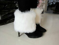 Boot Cuff Fluffy Soft Furry Faux Fur Leg Warmers Boot Toppers white