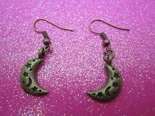 Antique Brass Moon Earrings