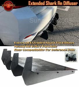 "23"" x 22"" Rear Bumper Diffuser Wind Blade Extension Splitter 4 Fins For Toyota"