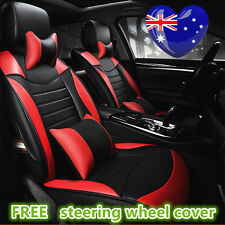 Black Red Leather Car Seat Cover Subaru Outback Forester XV Liberty WRX Impreza