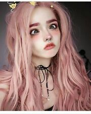 Seraphic Free Part Pink Wig Long Wavy Lace Front Synthetic Hair Wigs For Women