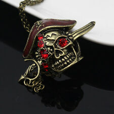 Retro Vintage Jewellery Red Crystal Skull Pirates Necklace Pendants For Men Boys