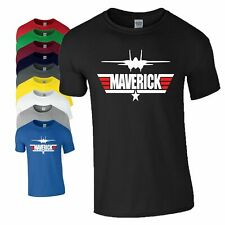 Maverick T Shirt Top Gun Inspired Tom Cruise Plane Movie Christmas Gift Mens Top