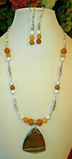 PRETTY STRIPED AGATE STONE PENDANT HANDMADE NECKLACE with GEMSTONES + EARRINGS