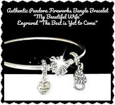 "PANDORA Charm Bracelet ""My Beautiful Wife"" Limited Edition Fireworks 7.5  Silver"