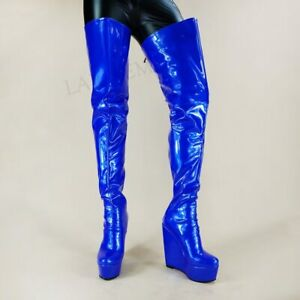 Womens Thigh High Boots Wedges Shiny Shoes Full Zipper Platform Over Knee Boots